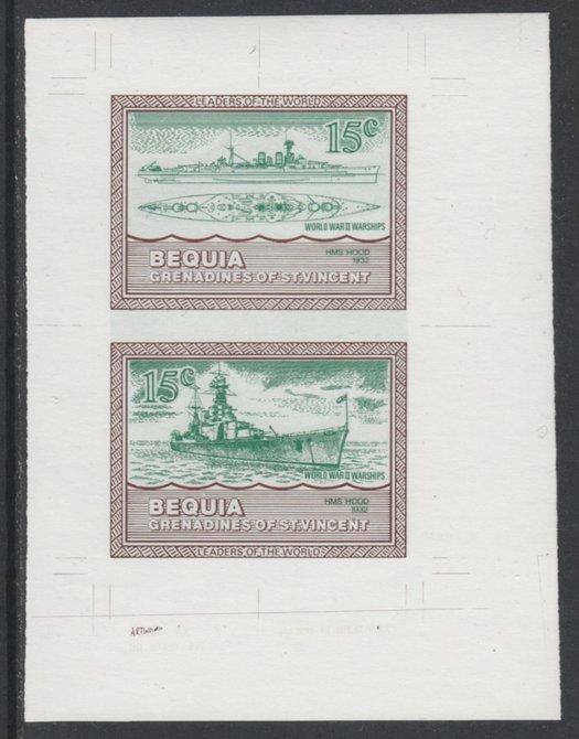 St Vincent - Bequia 1985 Warships of World War 2, 15c HMS Hood individual imperf se-tenant colour trial proof in green & brown with white background, ex Format International archives
