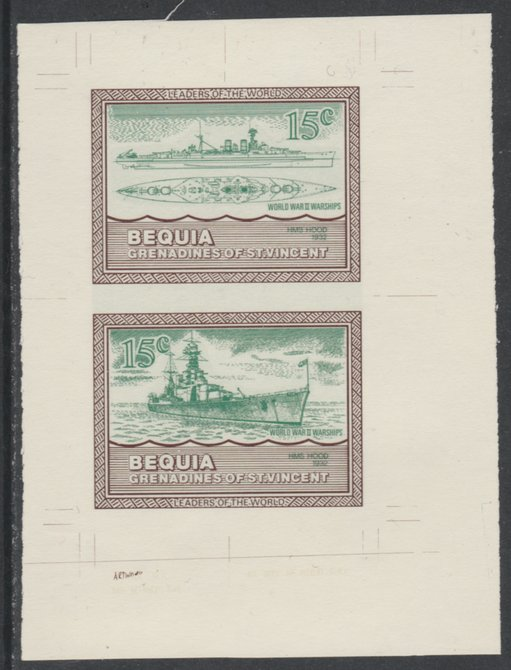 St Vincent - Bequia 1985 Warships of World War 2, 15c HMS Hood individual imperf se-tenant colour trial proof in green & brown with buff background, ex Format International archives