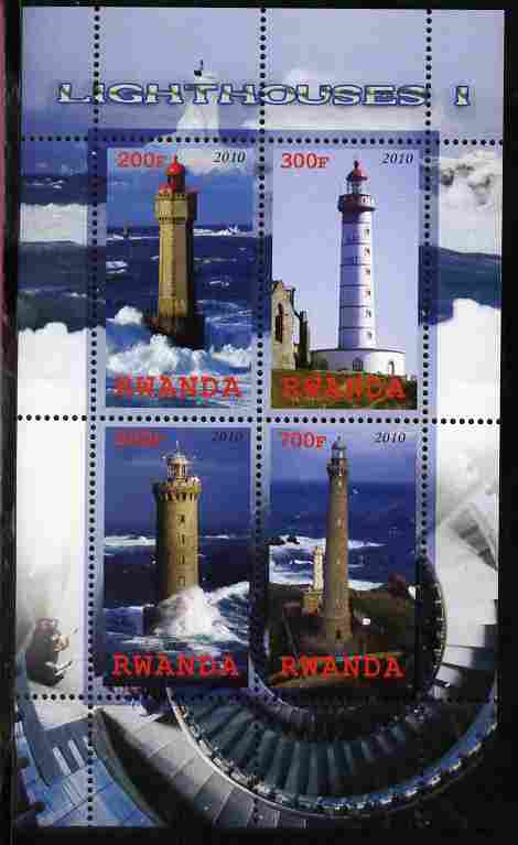 Rwanda 2010 Lighthouses #1 perf sheetlet containing 4 values unmounted mint