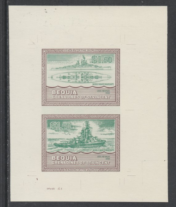 St Vincent - Bequia 1985 Warships of World War 2, $1.50 USS Nevada individual imperf se-tenant colour trial proof in green & brown with buff background, ex Format International archives
