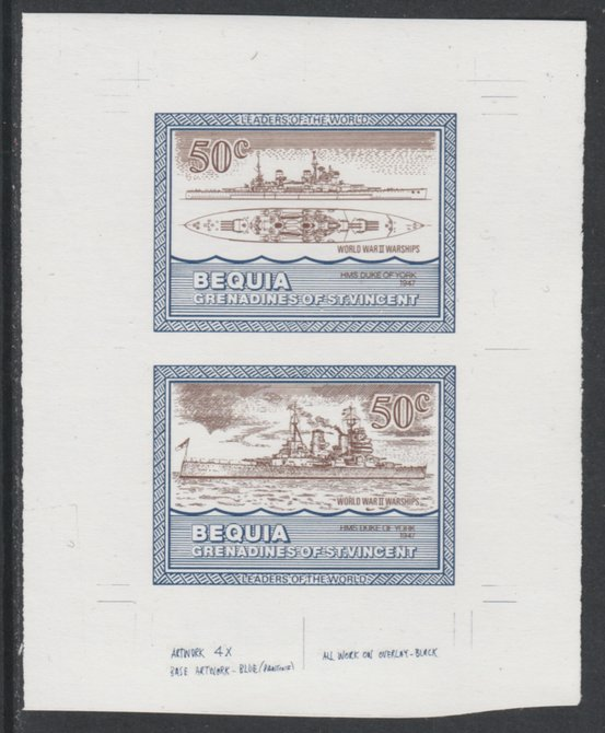St Vincent - Bequia 1985 Warships of World War 2, 50c HMS Duke of York individual imperf se-tenant colour trial proof in purple-brown and blue with white background, ex Format International archives