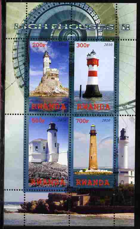 Rwanda 2010 Lighthouses #2 perf sheetlet containing 4 values unmounted mint