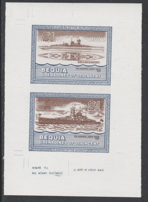 St Vincent - Bequia 1985 Warships of World War 2, $1 KM Admiral Graf Spee individual imperf se-tenant colour trial proof in purple-brown and blue with white background, ex Format International archives
