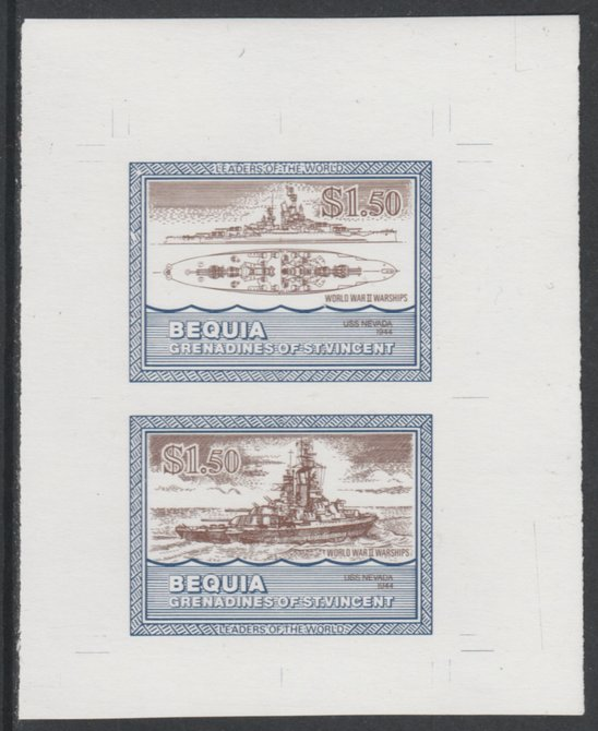 St Vincent - Bequia 1985 Warships of World War 2, $1.50 USS Nevada individual imperf se-tenant colour trial proof in purple-brown and blue with white background, ex Format International archives