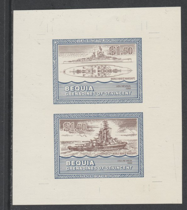 St Vincent - Bequia 1985 Warships of World War 2, $1.50 USS Nevada individual imperf se-tenant colour trial proof in purple-brown and blue with buff background, ex Format International archives