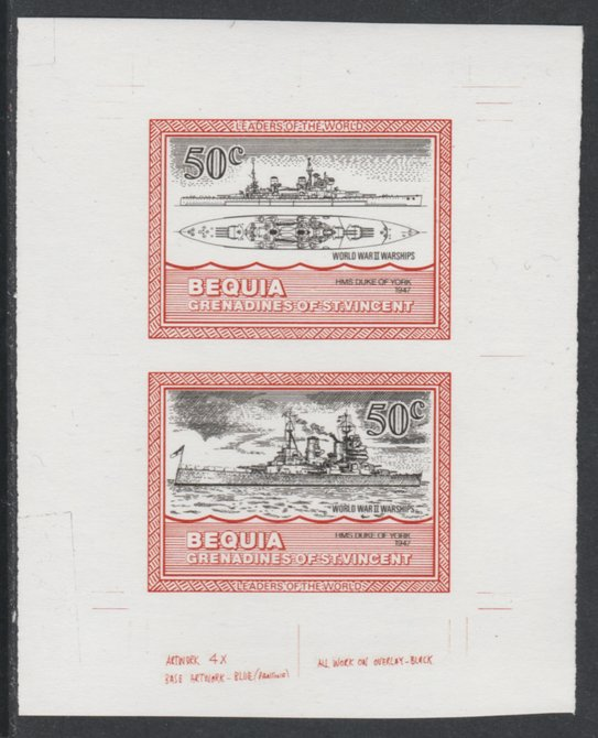St Vincent - Bequia 1985 Warships of World War 2, 50c HMS Duke of York individual imperf se-tenant colour trial proof in black and orange (the colours of the issued $1) with white background, ex Format International archives