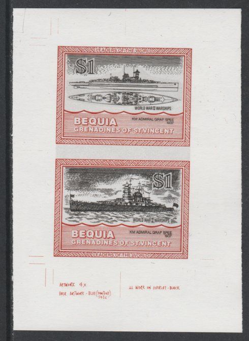 St Vincent - Bequia 1985 Warships of World War 2, $1 KM Admiral Graf Spee individual imperf se-tenant colour trial proof in issued colours with white background, ex Format International archives