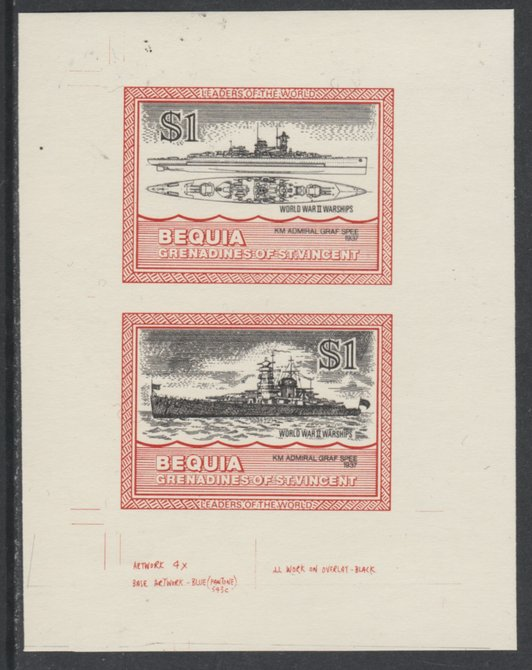 St Vincent - Bequia 1985 Warships of World War 2, $1 KM Admiral Graf Spee individual imperf se-tenant colour trial proof in issued colours with buff background, ex Format International archives