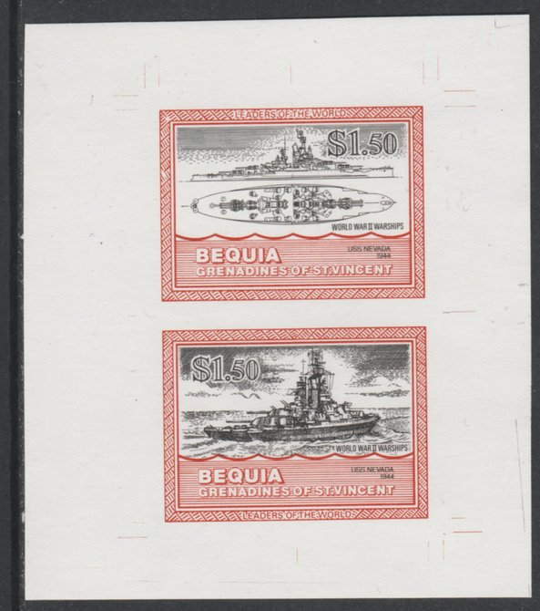St Vincent - Bequia 1985 Warships of World War 2, $1.50 USS Nevada individual imperf se-tenant colour trial proof in black and orange (the colours of the issued $1) with white background, ex Format International archives