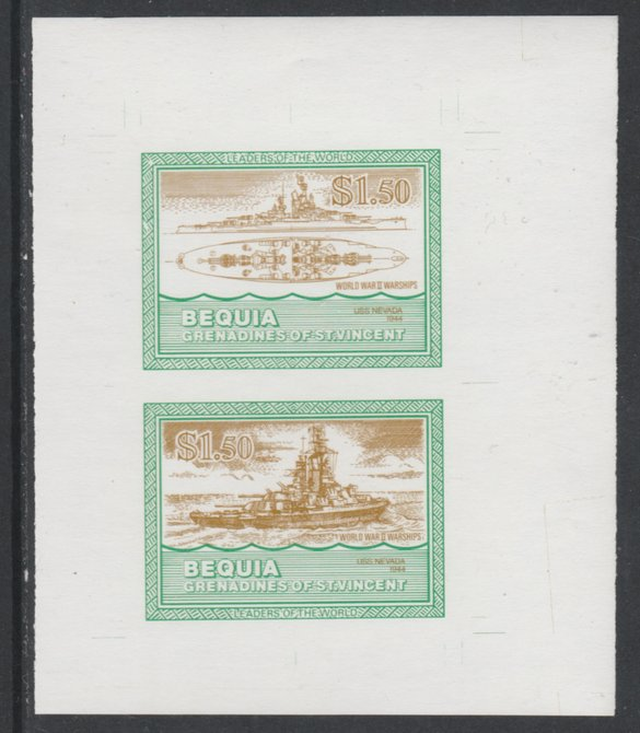 St Vincent - Bequia 1985 Warships of World War 2, $1.50 USS Nevada individual imperf se-tenant colour trial proof in orange-brown and green with white background, ex Format International archives