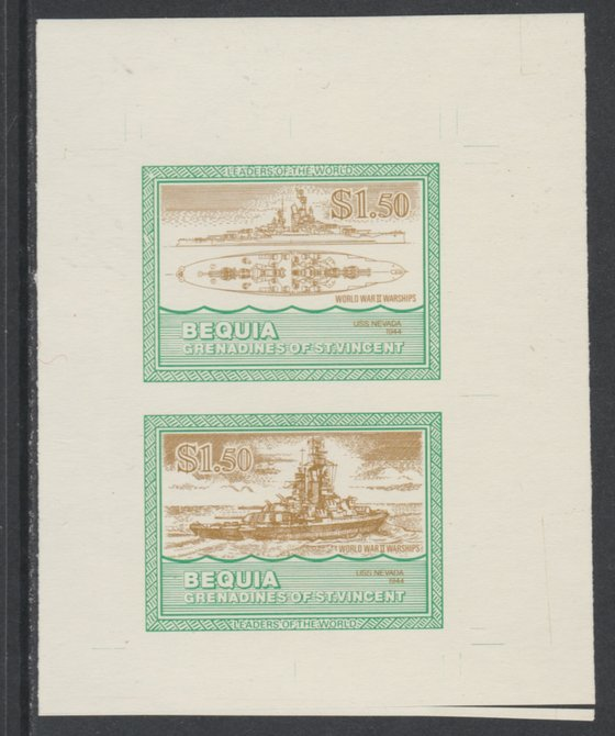 St Vincent - Bequia 1985 Warships of World War 2, $1.50 USS Nevada individual imperf se-tenant colour trial proof in orange-brown and green with buff background, ex Format International archives