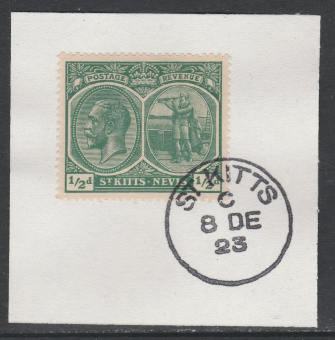 St Kitts-Nevis 1920-22 KG5 MCA Columbus 1/2d blue-green SG24 on piece with full strike of Madame Joseph forged postmark type 347