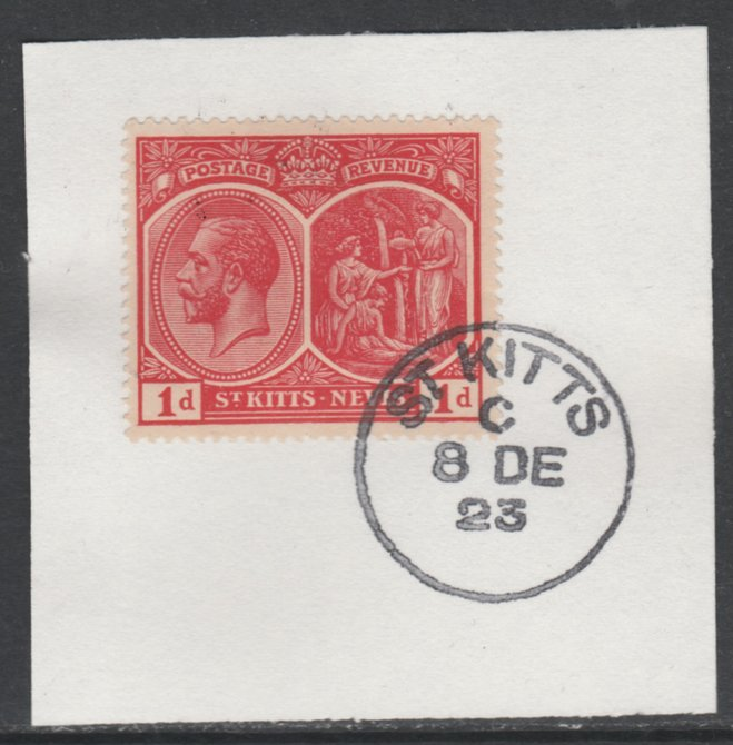 St Kitts-Nevis 1920-22 KG5 MCA Medicinal Spring 1d scarlet SG25 on piece with full strike of Madame Joseph forged postmark type 347