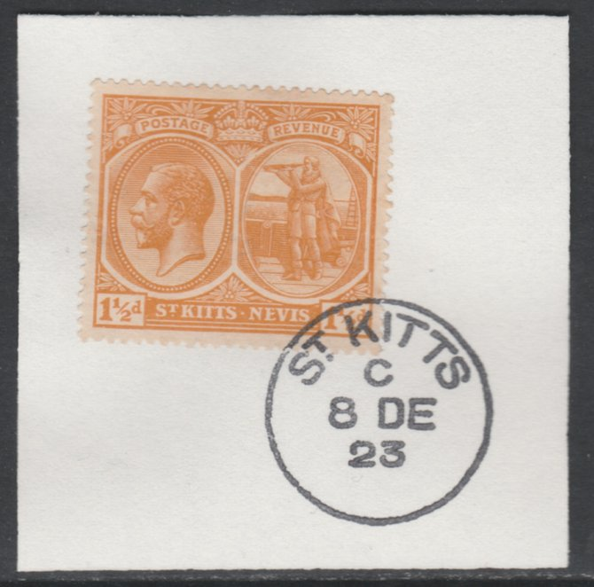 St Kitts-Nevis 1920-22 KG5 MCA Columbus 1.5d orange-yellow SG26 on piece with full strike of Madame Joseph forged postmark type 347
