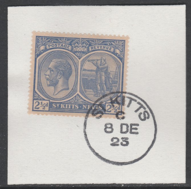St Kitts-Nevis 1920-22 KG5 MCA Columbus 2.5d ultramarine SG 28 on piece with full strike of Madame Joseph forged postmark type 347