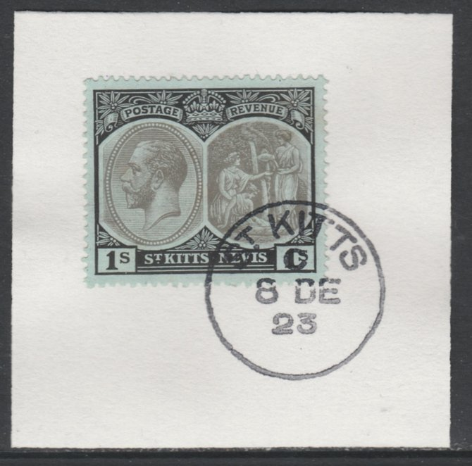 St Kitts-Nevis 1920-22 KG5 MCA Medicinal Spring 1s grey & black on green SG31 on piece with full strike of Madame Joseph forged postmark type 347