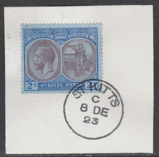 St Kitts-Nevis 1920-22 KG5 MCA Columbus 2s purple & blue on blue SG32 on piece with full strike of Madame Joseph forged postmark type 347