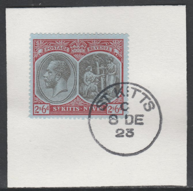 St Kitts-Nevis 1920-22 KG5 Medicinal Spring 2s6d grey & red on blue SG 33/47 on piece with full strike of Madame Joseph forged postmark type 347, stamps on , stamps on  kg5 , stamps on