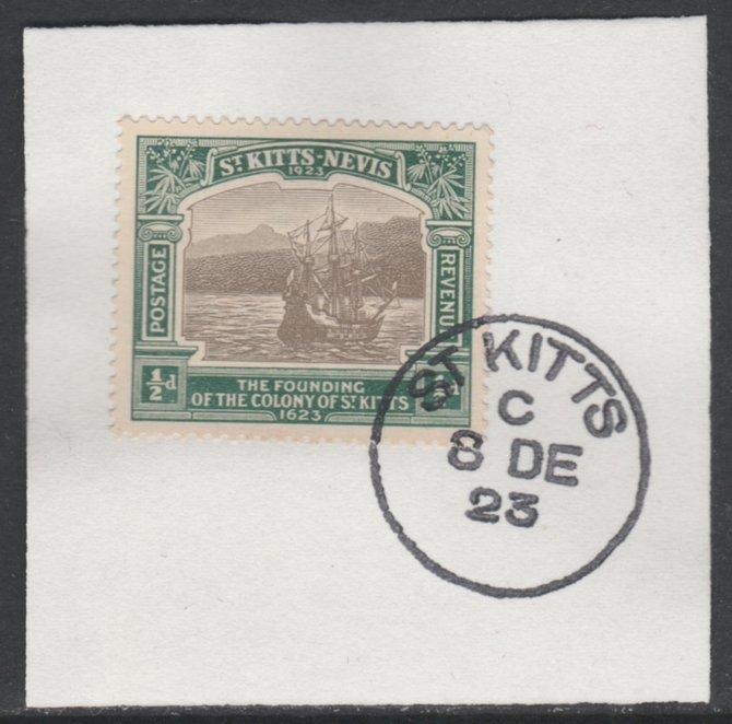 St Kitts-Nevis 1923 KG5 Tercentenary 1/2d SG 48 on piece with full strike of Madame Joseph forged postmark type 347