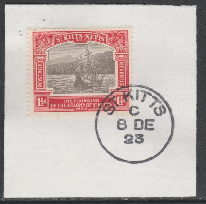 St Kitts-Nevis 1923 KG5 Tercentenary 1.5d SG 50 on piece with full strike of Madame Joseph forged postmark type 347
