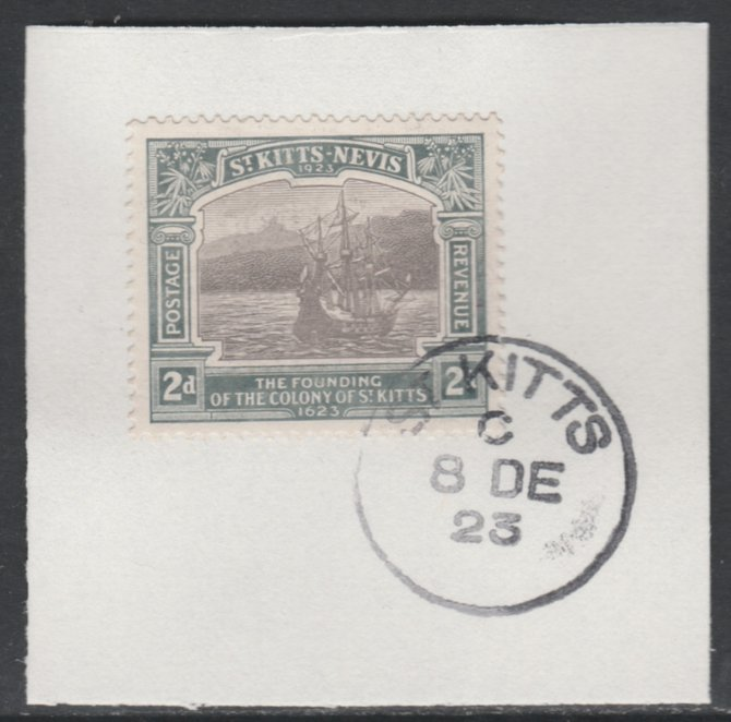 St Kitts-Nevis 1923 KG5 Tercentenary 2d SG 51 on piece with full strike of Madame Joseph forged postmark type 347