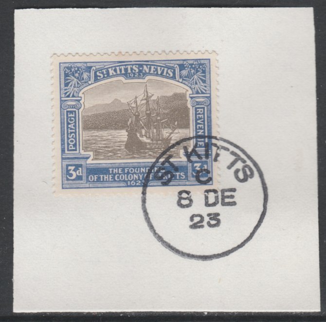 St Kitts-Nevis 1923 KG5 Tercentenary 3d SG 53 on piece with full strike of Madame Joseph forged postmark type 347