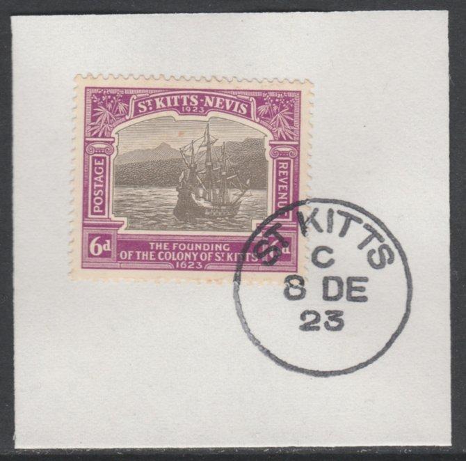 St Kitts-Nevis 1923 KG5 Tercentenary 6d SG 54 on piece with full strike of Madame Joseph forged postmark type 347