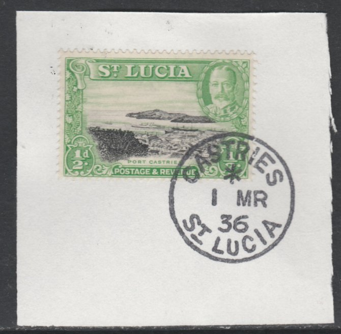 St Lucia 1936 KG5 Pictorial 1/2d black & green SG 113 on piece with full strike of Madame Joseph forged postmark type 359