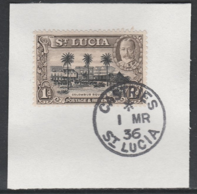 St Lucia 1936 KG5 Pictorial 1d black & brown SG 114 on piece with full strike of Madame Joseph forged postmark type 359