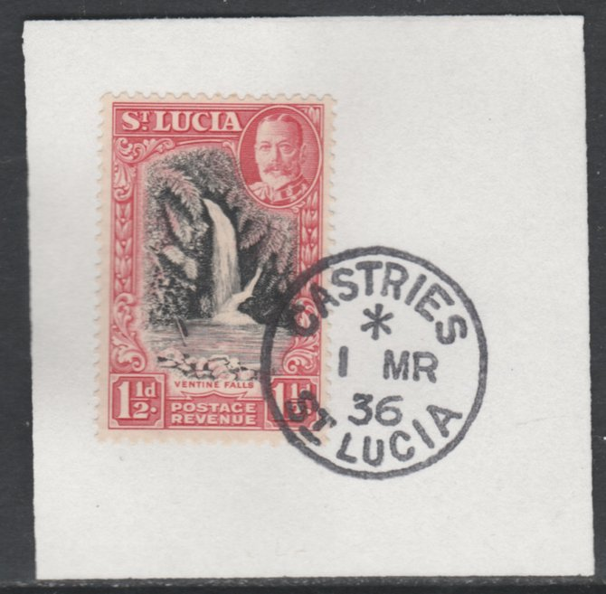 St Lucia 1936 KG5 Pictorial 1.5d black & scarlet SG 115 on piece with full strike of Madame Joseph forged postmark type 359