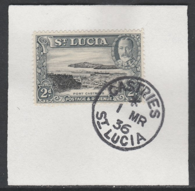 St Lucia 1936 KG5 Pictorial 2d black & grey SG 116 on piece with full strike of Madame Joseph forged postmark type 359