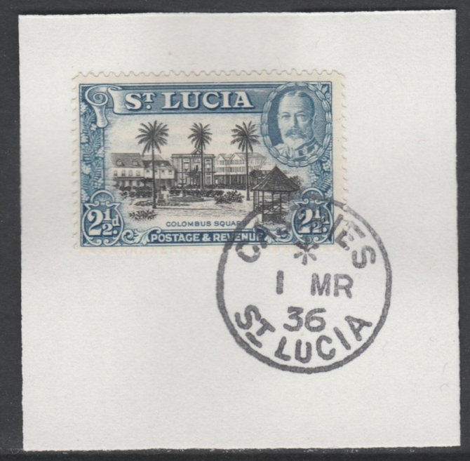 St Lucia 1936 KG5 Pictorial 2.5d black & blue SG 117 on piece with full strike of Madame Joseph forged postmark type 359