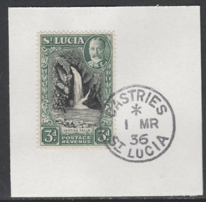 St Lucia 1936 KG5 Pictorial 3d black & dull green SG 118 on piece with full strike of Madame Joseph forged postmark type 359