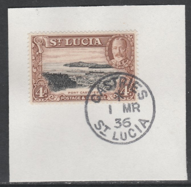 St Lucia 1936 KG5 Pictorial 4d black & red-brown SG 119 on piece with full strike of Madame Joseph forged postmark type 359