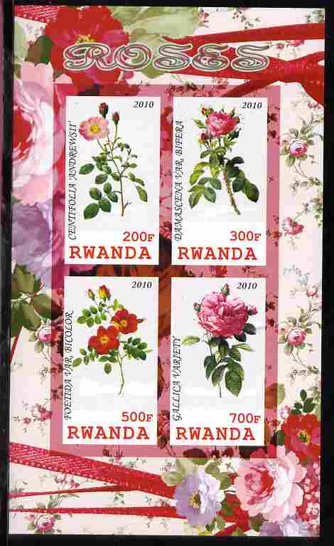 Rwanda 2010 Flowers - Roses imperf sheetlet containing 4 values unmounted mint