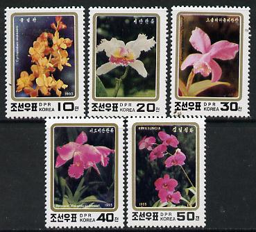North Korea 1993 Orchids perf set of 5 unmounted mint, SG N3346-50*