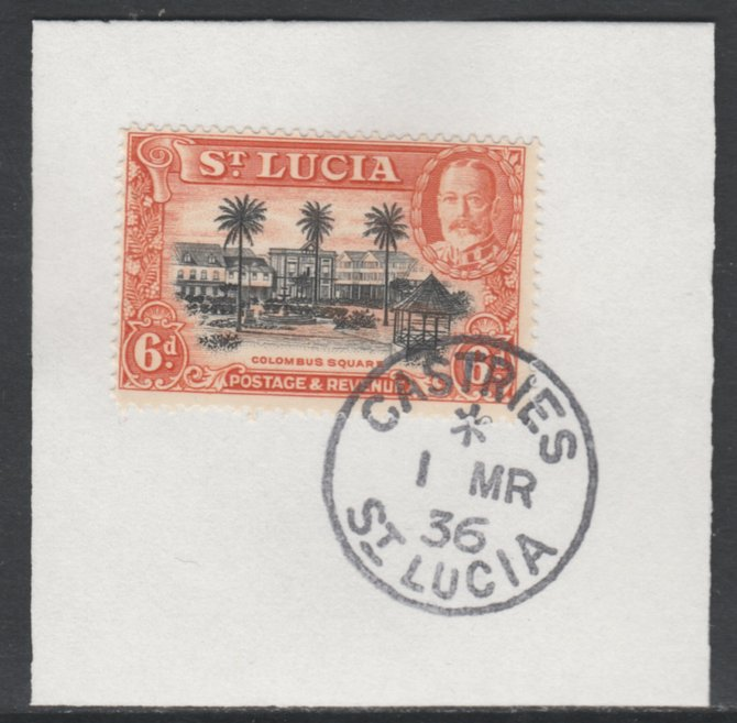 St Lucia 1936 KG5 Pictorial 6d black & orange SG 120 on piece with full strike of Madame Joseph forged postmark type 359