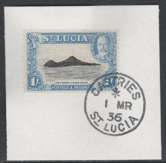 St Lucia 1936 KG5 Pictorial 1s black & light blue SG 121 on piece with full strike of Madame Joseph forged postmark type 359