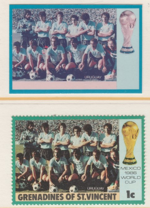 St Vincent - Grenadines 1986 World Cup Football 1c Uruguay Team - imperf Cromalin die proof (plastic card) in magenta & cyan only (plus issued stamp)rare proof item from ...