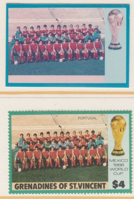 St Vincent - Grenadines 1986 World Cup Football $4 Portugal Team - imperf Cromalin die proof (plastic card) in magenta & cyan only (plus issued stamp)rare proof item from the Format International archives. Cromalin proofs are an essential part of the printing proces, produced in very limited numbers and rarely offered on the open market.