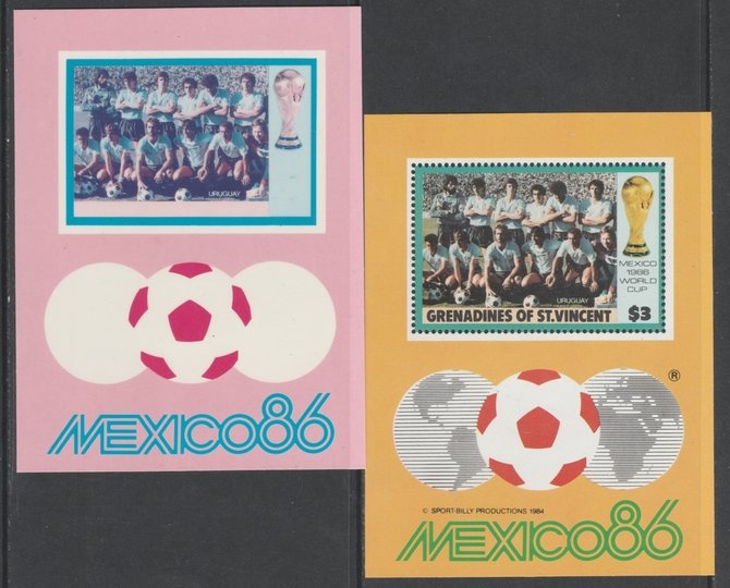 St Vincent - Grenadines 1986 World Cup Football $3.00 m/sheet (Uruguay Team) imperf Cromalin die proof (plastic card) in magenta & cyan only (plus issued m/sheet) ex Form...
