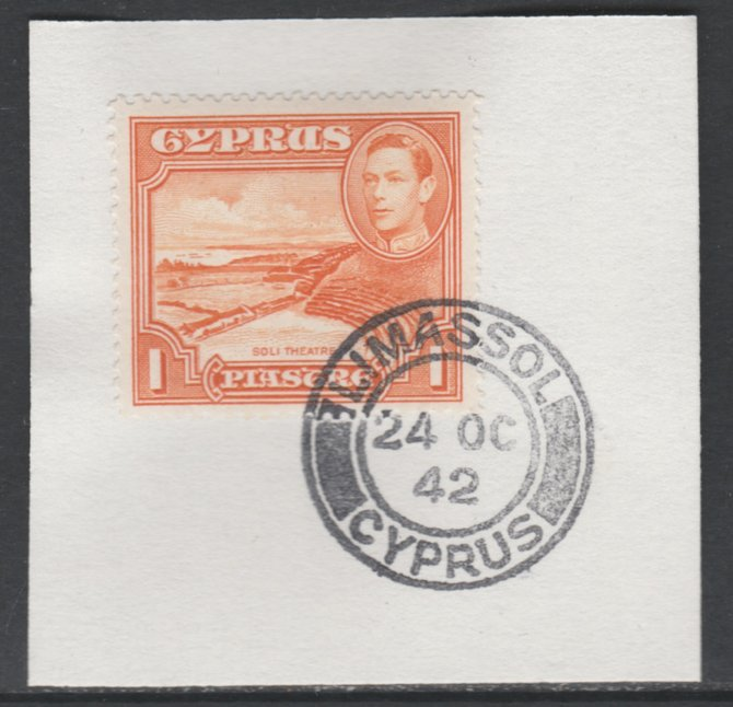 Cyprus 1938-51 KG6 Roman Theatre 1pi orange SG154 on piece with full strike of Madame Joseph forged postmark type 137