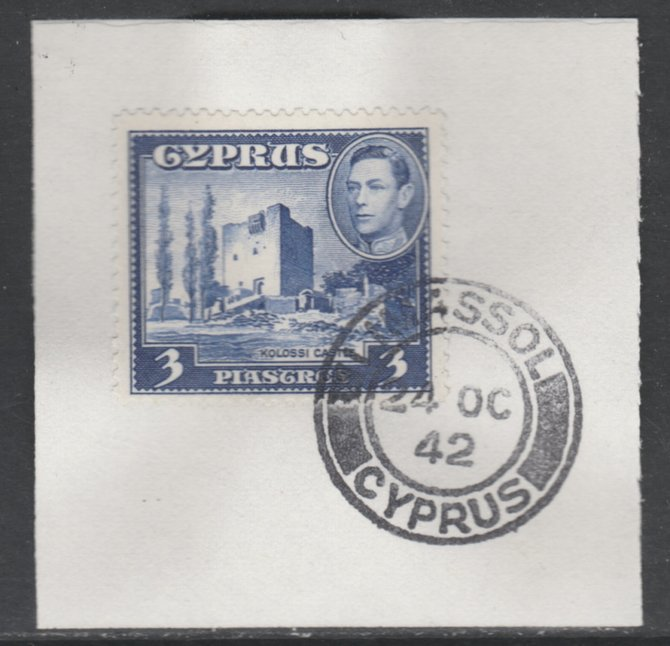Cyprus 1938-51 KG6 Kolossi Castle 3pi ultramarine  SG 156a on piece with full strike of Madame Joseph forged postmark type 137