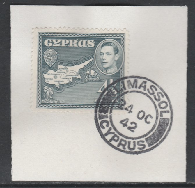 Cyprus 1938-51 KG6 Map 4.5pi grey SG 157 on piece with full strike of Madame Joseph forged postmark type 137