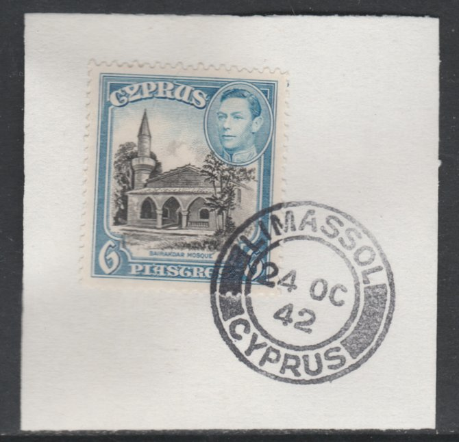 Cyprus 1938-51 KG6 Bayraktar Mosque 6pi black & blue SG 158 on piece with full strike of Madame Joseph forged postmark type 137