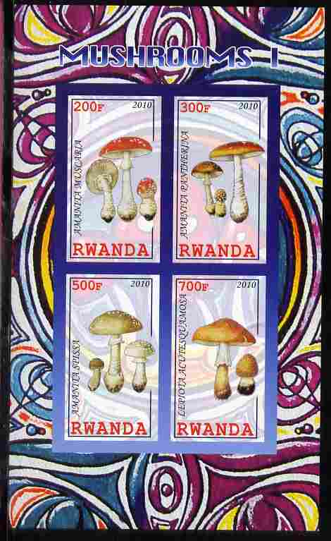 Rwanda 2010 Mushrooms #1 imperf sheetlet containing 4 values unmounted mint