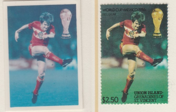St Vincent - Union Island 1986 World Cup Football $2.50 Belgium - imperf Cromalin die proof (plastic card) in magenta & cyan only (plus issued stamp)rare proof item from the Format International archives. Cromalin proofs are an essential part of the printing proces, produced in very limited numbers and rarely offered on the open market.
