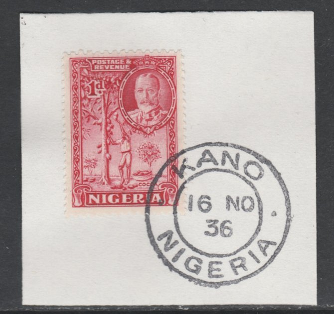 Nigeria 1936 KG5 Pictorial 1d carmine, SG 35 on piece with full strike of Madame Joseph forged postmark type 302