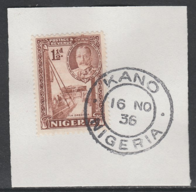 Nigeria 1936 KG5 Pictorial 1.5d brown, SG 36 on piece with full strike of Madame Joseph forged postmark type 302