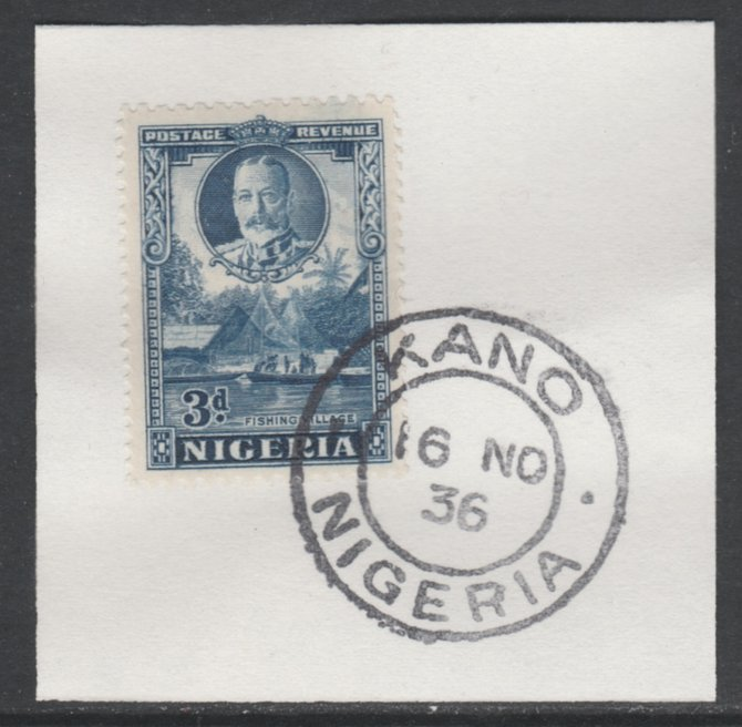 Nigeria 1936 KG5 Pictorial 3d blue, SG 38 on piece with full strike of Madame Joseph forged postmark type 302